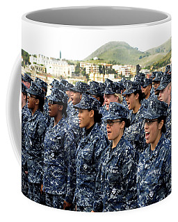 Coffee Mug featuring the photograph Sailors Yell Before An All-hands Call by Stocktrek Images