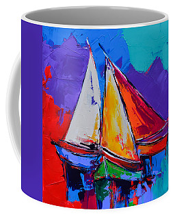 Coffee Mug featuring the painting Sails Colors by Elise Palmigiani