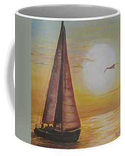 Sails In The Sunset Coffee Mug by Debbie Baker