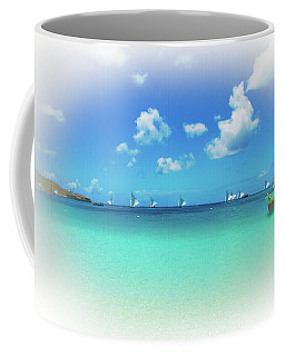 Coffee Mug featuring the photograph Sails In The Wind Sandy Ground Anguilla by Ola Allen