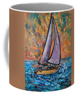 Coffee Mug featuring the painting Sails Up by Xueling Zou
