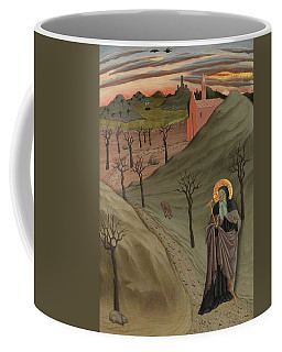 Coffee Mug featuring the painting Saint Anthony The Abbot In The Wilderness by Osservanza Master
