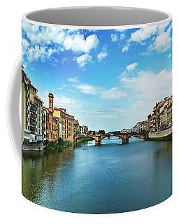 Panoramic View Of Saint Trinity Bridge From Ponte Vecchio In Florence, Italy Coffee Mug
