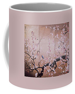 Coffee Mug featuring the painting Sakura - Cherry Trees In Bloom by Sorin Apostolescu