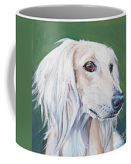 Coffee Mug featuring the painting Saluki Sighthound by Lee Ann Shepard
