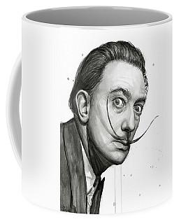 Salvador Dali Portrait Black And White Watercolor Coffee Mug