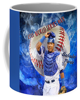 Salvador Perez 2015 World Series Mvp Coffee Mug by Colleen Taylor