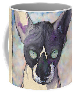 Coffee Mug featuring the mixed media Sam The Sphynx by Lora Serra