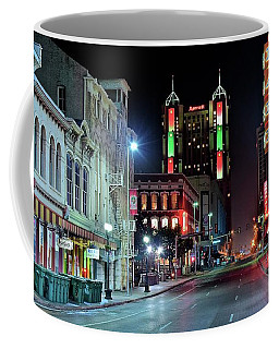 Coffee Mug featuring the photograph San Antonio Alight by Frozen in Time Fine Art Photography