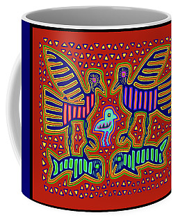 San Blas Kuna Bird Family With Fish Coffee Mug