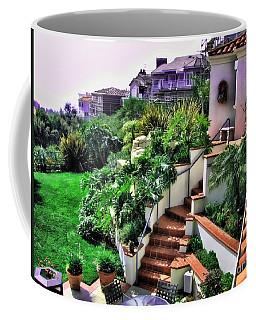 Coffee Mug featuring the digital art San Clemente Estate Backyard by Kathy Tarochione