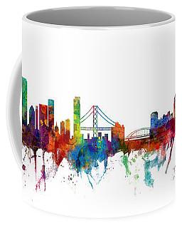 San Francisco And Pittsburgh Skylines Mashup Coffee Mug