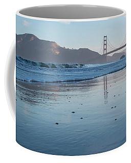 Coffee Mug featuring the photograph San Francisco Golden Gate Bridge Reflected On Baker's Beach Wet  by PorqueNo Studios