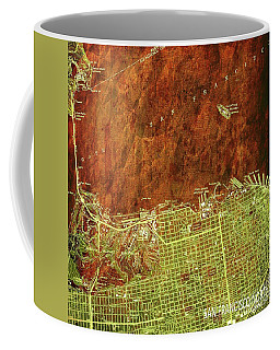 San Francisco Old Map, Green And Bronze, Vintage Paper Coffee Mug