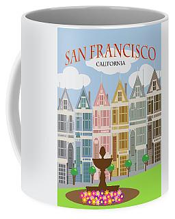 San Francisco Painted Ladies Poster Illustration Coffee Mug