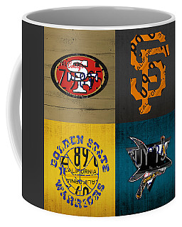 San Francisco Sports Fan Recycled Vintage California License Plate Art 49ers Giants Warriors Sharks Coffee Mug