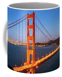 Coffee Mug featuring the photograph San Francisco Through The Golden Gate Bridge At Dusk by James Udall