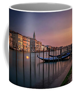 San Marco Campanile With Gondolas At Grand Canal During Calm Sunrise, Venice, Italy, Europe. Coffee Mug