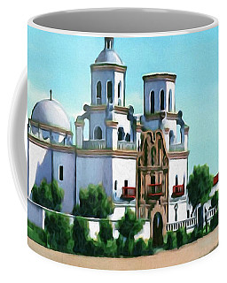 San Xavier Del Bac Mission Coffee Mug by Walter Colvin