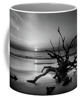Sand Surf And Driftwood In Black And White Coffee Mug