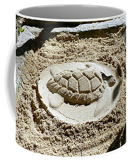 Coffee Mug featuring the photograph Sand Turtle Print by Francesca Mackenney