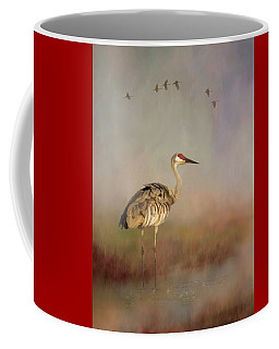 Sandhill Crane - Painterly Vertical Coffee Mug