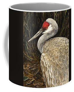 Coffee Mug featuring the painting Sandhill Crane - Realistic Bird Wildlife Art by Karen Whitworth