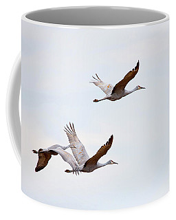 Coffee Mug featuring the photograph Sandhill Cranes Flying by Paul Mashburn
