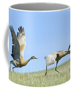 Sandhill Cranes Taking Flight Coffee Mug