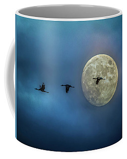 Sandhill Cranes With Full Moon Coffee Mug