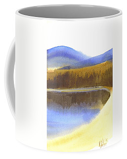 Coffee Mug featuring the painting Sandy Blue Dusky Mountain Lake by Kip DeVore