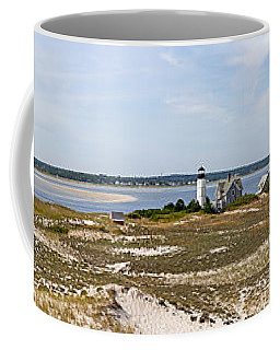 Sandy Neck Lighthouse With Fishing Boat Coffee Mug
