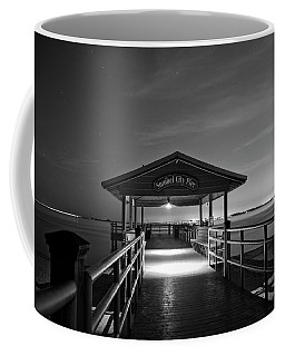 Sanibel City Pier In Black And White Coffee Mug