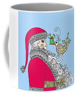 Santa And Bird On Blue Coffee Mug