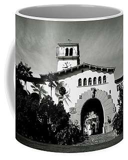 Santa Barbara Courthouse Black And White-by Linda Woods Coffee Mug by Linda Woods
