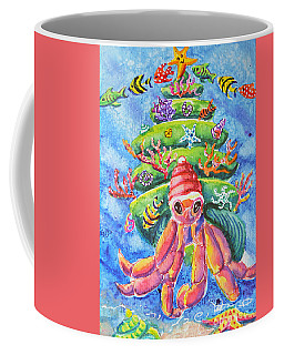 Coffee Mug featuring the painting Santa Crab by Li Newton