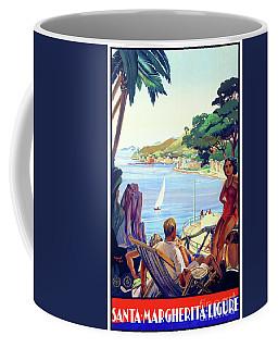 Coffee Mug featuring the mixed media Santa Margherita Ligure Vintage Poster Restored by Carsten Reisinger
