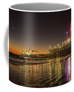 Coffee Mug featuring the photograph Santa Monica Pier After Sunset by Michael Hope