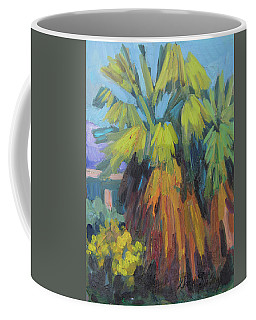 Coffee Mug featuring the painting Santa Rosa Visitors Center Palms by Diane McClary