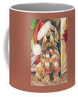 Coffee Mug featuring the drawing Santas Little Yelper by Barbara Keith