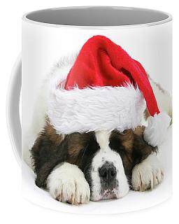 Santa's Snoozing Saint Bernard Coffee Mug