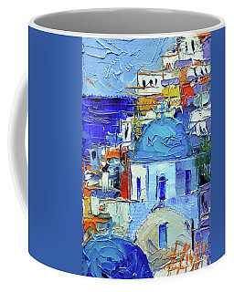Santorini Blue Cupolas - Mini Cityscape 10 - Palette Knife Oil Painting Coffee Mug