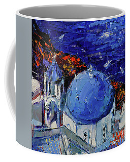 Santorini Blue Domed Church - Mini Cityscape 06 Coffee Mug