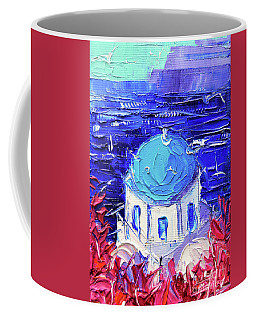 Santorini Church Cupola - Mini Cityscape 11 - Palette Knife Oil Painting Coffee Mug