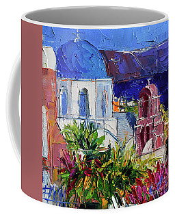 Santorini Church - Mini Cityscape 01 - Modern Impressionist Palette Knife Oil Painting Coffee Mug