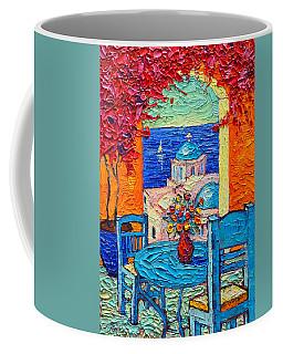 Santorini Dream Greece Contemporary Impressionist Palette Knife Oil Painting By Ana Maria Edulescu Coffee Mug