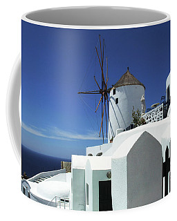 Coffee Mug featuring the photograph Santorini Greece Architectual Line 5 by Bob Christopher