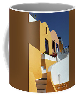 Coffee Mug featuring the photograph Santorini Greece Architectual Line by Bob Christopher