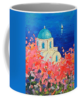 Santorini Impression - Full Bloom In Santorini Greece Coffee Mug