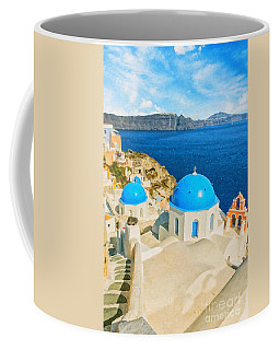 Santorini Oia Church Caldera View Digital Painting Coffee Mug